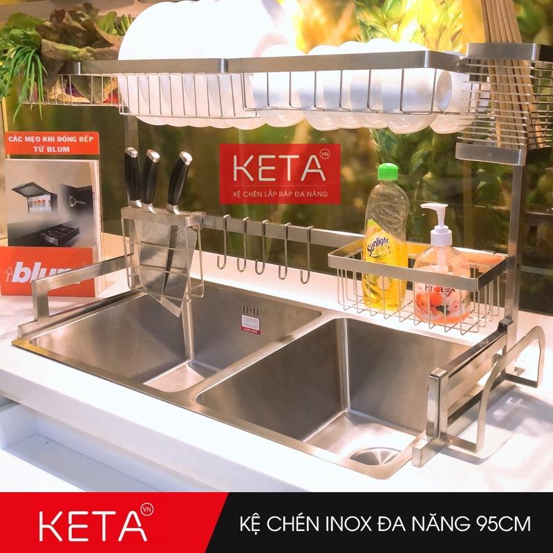 Kệ chén dĩa inox 304 đa năng trên bồn rửa dài 95cm