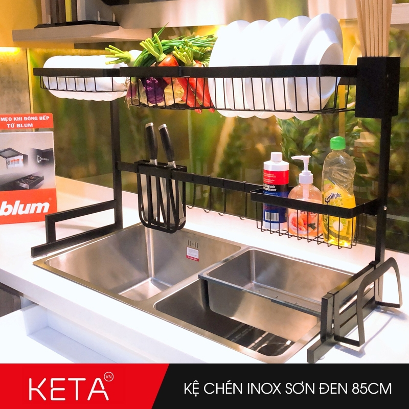 Kệ chén dĩa inox sơn đen đa năng trên bồn rửa dài 85m